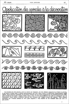 https://flic.kr/p/8LD5Y2 | Old French Art Magazine - Spirals | Zentangle inspiration from an old French art magazine.  www.TangleTangleTangle.com