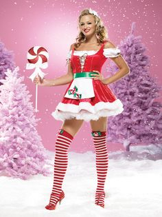 83380 Leg Avenue Costume Sexy miss PepperMint bow santa Costume Peasant Top Dress With plush fur t  sc 1 st  Pinterest & 11 best Santa Crawl images on Pinterest | Christmas costumes ...