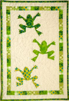 Humidicrib quilt made using Piece by Number's 'Kiriki the Frog' pattern
