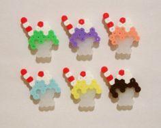 6pc MILKSHAKES MAGNET SET // Kawaii 1950's Diner Style Dessert Milkshakes in Clear Glasses with Retro Straws // Perler Beads