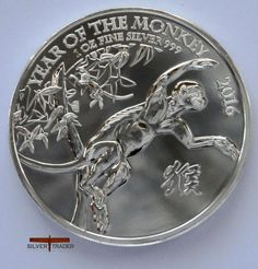 The 2016 British year of the Monkey 1 ounce silver bullion Coin, is the ninth symbol of the Lunar cycle.