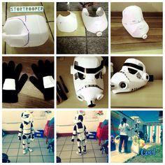 Disfraz de stormtrooper reciclado, botellas. Disfraz Star Wars, Recycled Costumes, Junk Art, Craft Box, Mask Making, Holidays Halloween, Ideas Para, Cool Kids, Recycling