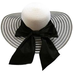 Black & White Wide Brim Floppy Hat Large With Satin Bow (2.385 RUB) ❤ liked on Polyvore featuring accessories, hats, floppy, black and white wide brim hat, black and white striped hat, wide brim floppy hat, brimmed hat and crown hat