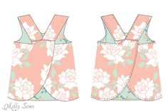 Step 3 - Criss Cross Pinafore Dress with Bloomers - FREE Sewing pattern sizes 0-3m - Melly Sews