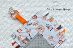 "Star Wars BB8 Handmade Sensory Taggy Ribbon Security Baby Blanket Ring 14"" x 14"" #OhSoVeryKnotty"