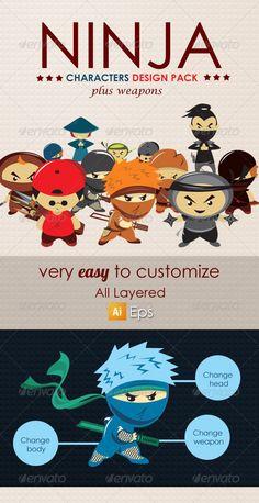 Ninja Characters Design Pack — Vector EPS #ninja kids #ninja pack • Available here → https://graphicriver.net/item/ninja-characters-design-pack/7593732?ref=pxcr