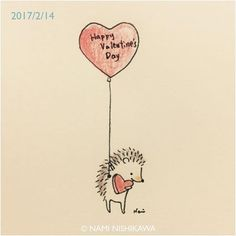 1118 Happy Valentine's Day! #illustration #hedgehog #イラスト #ハリネズミ #なみはりねずみ #illustagram #バレンタイン #バレンタインデー