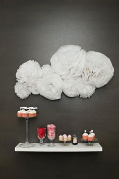 dessert bar on a floating shelf with cloud detailing // photo by Vasia-Weddings.com