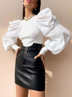 Pullover Stand Collar Puff Long Sleeves Ruched Sweaters - Power Day Sale#Fall2019collection #Falloutfits #Fallcollection #FallWear #Autumnwear #fashionintrend #womenfashion #Expressyourself Blouses For Women, Pants For Women, Sweaters For Women, Clothes Women, Boutique Clothing, Fashion Boutique, Bow Tie Blouse, Bishop Sleeve, Loose Tops