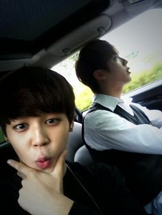 I almost thought Jin was driving haha but Jimin is such a cutie!