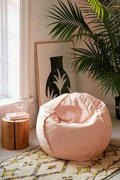 Exposed Seam Bean Bag Chair Oversized bean bag chair made from soft polyester. Perfectly cushy + comfy design that works in any space! Puff Gigante, Oversized Bean Bag Chairs, Cheap Bean Bag Chairs, Urban Outfitters Furniture, Bean Bag Living Room, Bean Bag Room, Wooden Office Chair, Office Chairs, Bedroom Decor