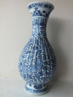 Chinese Kangxi 1662 1722 Porcelain Blue White Moulded and Fluted Vase A F | eBay