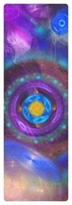 This is a iyogi yoga mat using healing fractal images to help with relaxation and grounding, promoting healing at a cellular level.