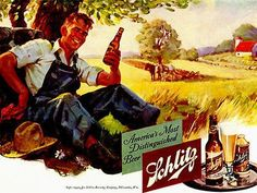 Taking a much needed break with the beer that made Milwaukee famous. Old Advertisements, Retro Advertising, Vintage Artwork, Vintage Posters, Pop Art, Schlitz Beer, American Beer, Beer Poster, Beer Brands
