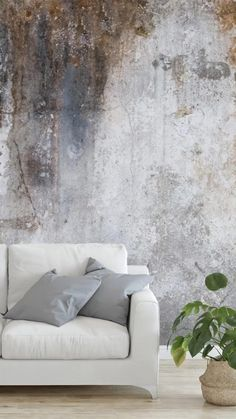 Texture is a great way to add depth and interest to a room whilst creating a modern industrial interior you will love. Choose from our collection of concrete inspired wallpaper designed to create the look of industrial texture on your walls. Place in your living room and style behind a white sofa. Choose minimal furniture for a fresh and modern look, and add house plants and rattan accents for a warmer touch. Shop the full collection at Wallsauce.com! #concretewallpaper #industrialdecor #mural Interior Design Minimalist, Scandinavian Interior Design, Interior Design Living Room, Modern Industrial, Industrial Living, Australian Home Decor, Australian Interior Design, Creative Wall Painting, Wall Painting Decor