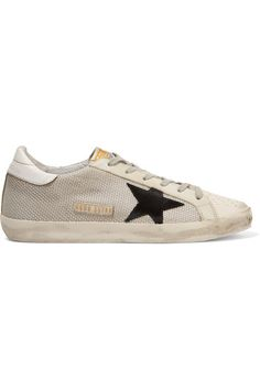 Rubber sole measures approximately 10mm/ 0.5 inches Off-white mesh and leather, black and gray suede Lace-up front Made in Italy