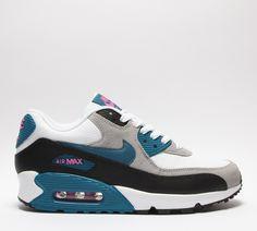 Træningssko hvid(white) / teal blå / sort(black) Nike damesko Air Max 90