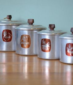 Vintage Kitchen Canisters By Raco