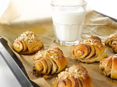 They are the best when they are warm and eaten with milk Finnish Recipes, Tasty Pastry, Bread Cake, No Bake Desserts, Cinnamon Rolls, Panna Cotta, Milk, Yummy Food, Sweets
