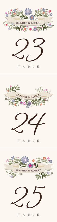 Garden Flurry Banner :: Weddings :: Table Numbers