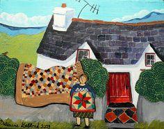 """Huile sur bois — Olew ar bren — Oil on wood  Deux autres quilts inspirés par la collection de Jen Jones : celle qui s'aère dans la haie reprend le motif de patchwork en ruche d'abeille (hexagones), celle pliée sur les bras de la femme est inspirée d'un modèle en flanelle, traditionnel au pays de Galles (le mot """"flanelle"""" tire d'ailleurs son origine du mot gallois """"gwlan"""").  ☁ Facebook : www.facebook.com/Valeriane.Leblond.Art.  ☂ Website : www.valeriane-leblond.eu  ✒…"""
