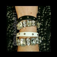 💎White Faux Leather Crystal Double Wrap Bracelet 💎White Faux Leather Crystal Double Wrap Bracelet. Glass Crystals lead free nickel free adjustable two snap fastener. ❌White Bracelet Only❌Black also Available❌ T&J Designs Jewelry Bracelets