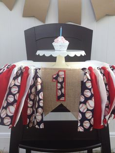 Baseball First Birthday Highchair Banner // Boys by MKsBowtique