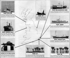Illustrated map showing the main offshore (of UK) radio stations, mid 1960s