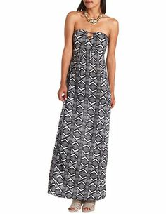 Bar-Back Printed Maxi Dress: Charlotte Russe