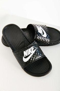 455e24c2c Nike Benassi JDI Slide. Urban Outfitters. Black And White NikesNike Shoes  OutletBlack ShoesBlack SandalsNike ...