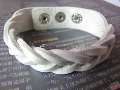 Cool White Leather Bracelet With Metal Buckle by sevenvsxiao, $5.50