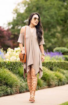 cute & little blog   petite fashion   cold shoulder scarf hem shift dress, tall gladiator sandals, chloe faye dupe bag, choker necklace   90s spring summer fashion