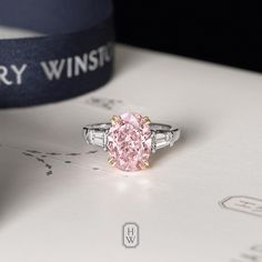 Incredibly precious and rare, a magnificent 5.13-carat pink diamond Classic Winston Engagement Ring is any bride's dream come true. #HarryWinston #BrilliantlyInLove