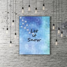Let It Snow Print, Winter Blue Christmas Quote, Snowflake Print, Holiday Gift, Black Glitter Snow Flake Christmas Home Decor Xmas Decoration