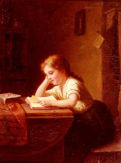 Hand painted oil painting reproduction on canvas of The Reading Girl 2 by artist Johann Georg Meyer von Bremen