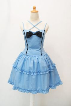 Alice in Wonderland Dress Blue Sweetheart Frill by CoruscateUnique, $135.00