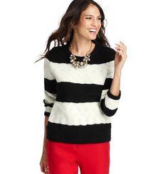 Petite Wide Striped Chunky Sweater   Loft