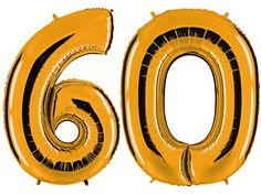 Ballon Zahl 60 In Gold   XXL Riesenzahl 100cm   Zum 60. Geburtstag   Party