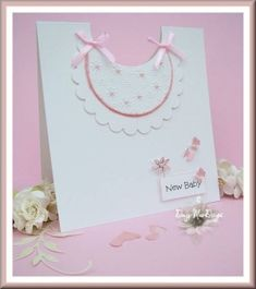 Pink baby's bib card by Daizy-Mae - Cards and Paper Crafts at Splitcoaststampers by imacraftaddict