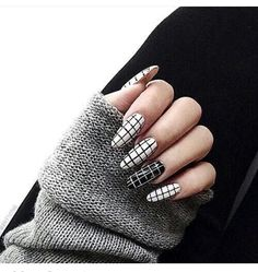 #grid #nails white grid pattern nails