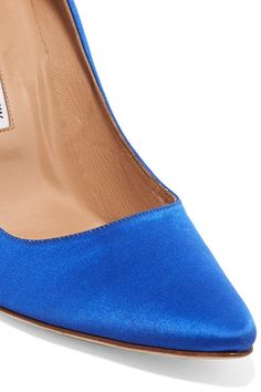 Vetements - Manolo Blahnik Printed Satin Pumps - Bright blue - IT