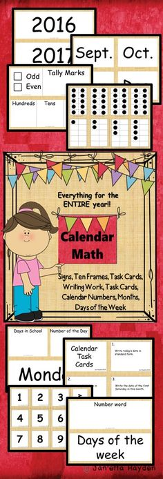Download NOW or pin to your math board! Calendar-whole group or math station Entire year of stations! Janetta Hayden