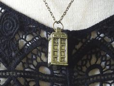 3D Phone Booth Necklace Dr Who Tardis Police by PeculiarCollective