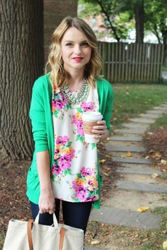 Poor Little It Girl in a Gap Green Cardigan, Everly Floral Top and James Skinny Jeans- via @poorlilitgirl