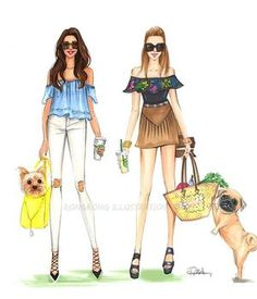 Girls weekend! Any yorkie and pug mamas here?(you can find these two drawings in my shop,link in bio) Can't decide which cute dog to draw next! Any suggestions? #yorkie #pug #fashionillustration #fashionillustrator #rongrongdevoe #doglover