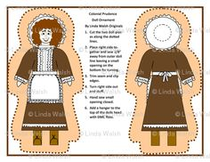 Colonial Prudence Pilgrim Lady Cut and Sew Doll by Linda Walsh