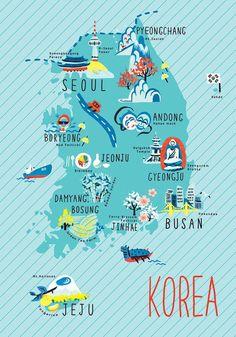 Illustrated map of Korea.