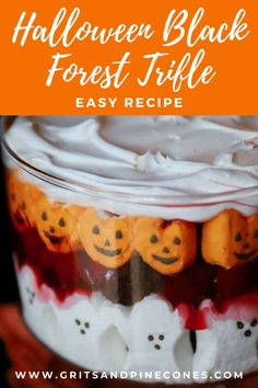 Easy Halloween Black Forest Trifle is a spooktacularly delicious Halloween dessert recipe full of the most adorable ghosts and goblins! This easy Halloween dessert only takes minutes to assemble and is sure to please even your pickiest big and little kids! Family friendly and perfect for the spooky holidays, try this EASY recipe this year!