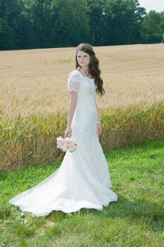 Vintage Style Modest Lace Wedding Dress with Sleeves - Kate