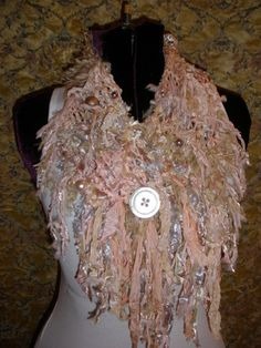 Mardi Gras Biscotti Fiber Art Freeform Knit by ShatteredPrincess